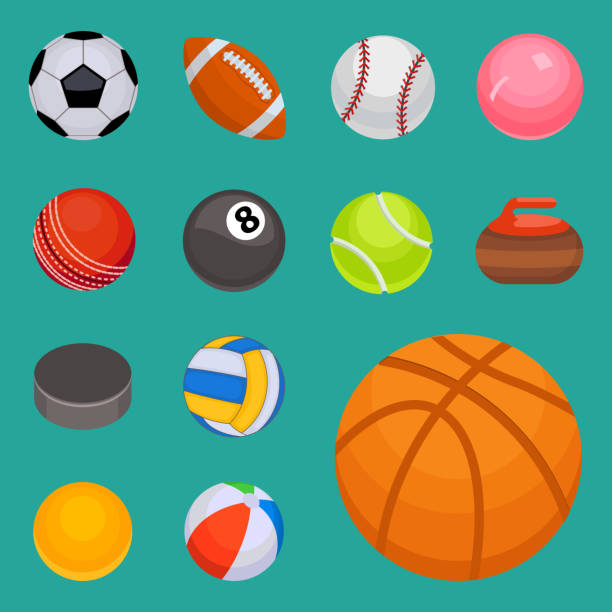 Set of balls isolated tournament win round basket soccer hobbies game equipment sphere vector illustration vector art illustration