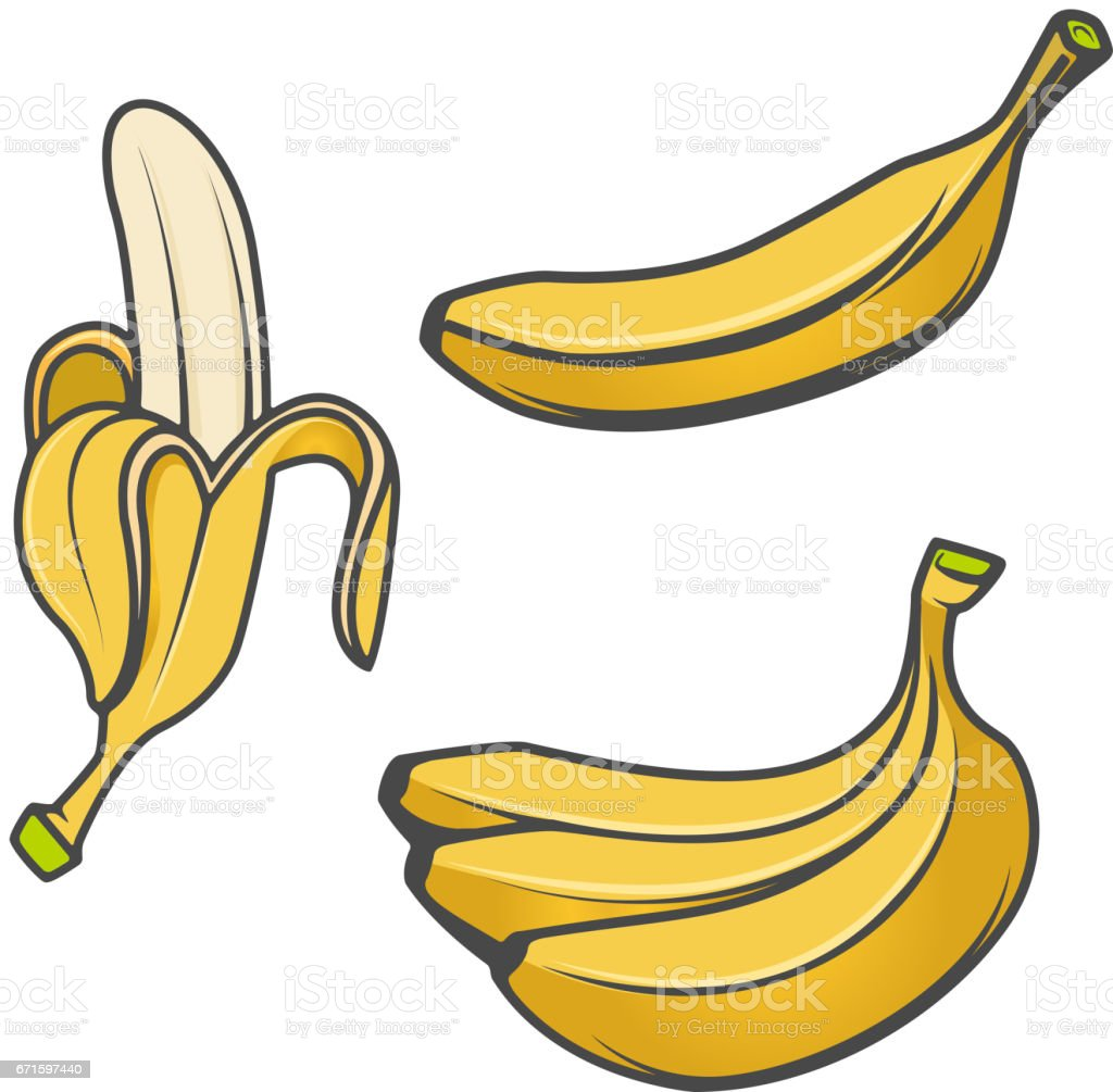 Set of banana icons isolated on white background. Design elements for icon, label, emblem, sign, brand mark. vector art illustration