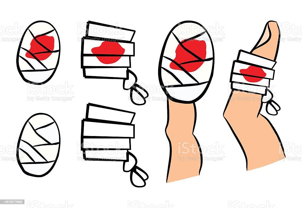 Set of bandage with red  blood puddle. Medical equipment vector art illustration