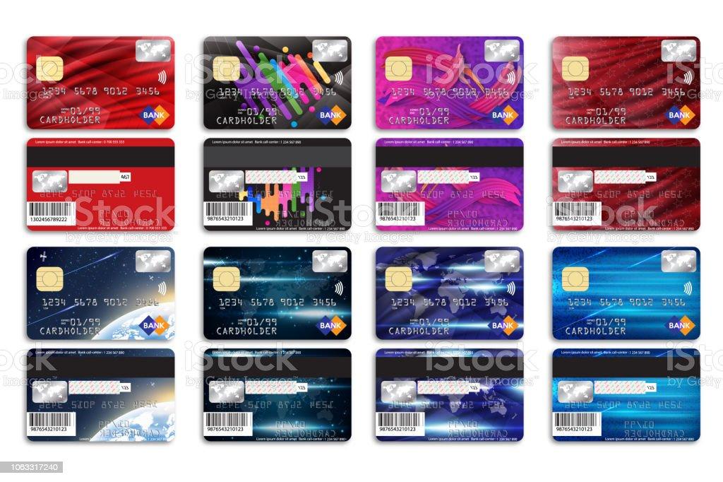 Satz Von Bankkarten Mit Unterschiedlichem Hintergrund Für Ihr