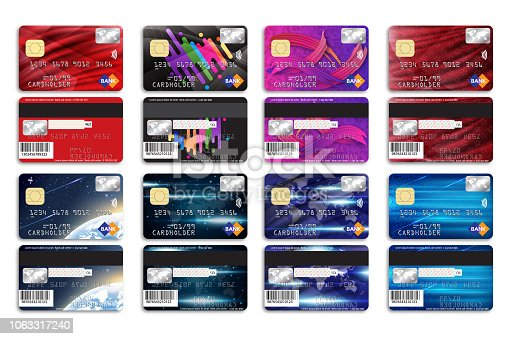 Set of bank cards with different background for your design. Vector illustration.
