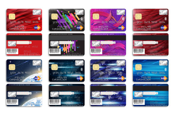 Set of bank cards with different background for your design. vector art illustration