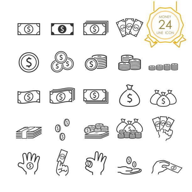 설정 돈을, 돈 가방, 동전, 지폐의 손에 웹사이트, infographic 또는 비즈니스, 간단한 라인 아이콘. 벡터 일러스트 레이 션 (편집 가능한 스트로크) - 영국 통화 stock illustrations
