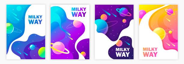 satz von banner-vorlagen. milky way. raum. design. vektor-illustration - milky way stock-grafiken, -clipart, -cartoons und -symbole