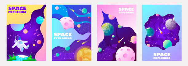 set of banner templates. universe. space. space trip. universe. design. vector illustration - space background stock illustrations