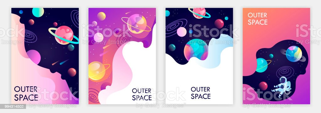 set of banner templates universe space trip design vector