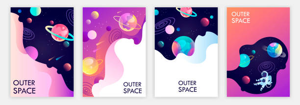 set of banner templates. universe. space trip. design. vector illustration set of banner templates. universe. space trip. design. vector illustration space stock illustrations