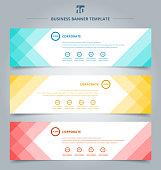 Set of banner web templates geometric header design background.