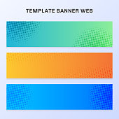 Set of banner web vibrant gradient color with halftone texture and background. You can use for flyer, label, tab, brochure, card, poster, leaflet, etc. Vector illustration