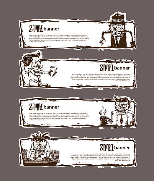 set of banner with zombie in office, men - old man funny pictures stock illustrations, clip art, cartoons, & icons