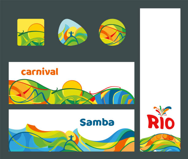 set of banners and icons rio de janeiro carnival, vector illustration - instrument perkusyjny stock illustrations