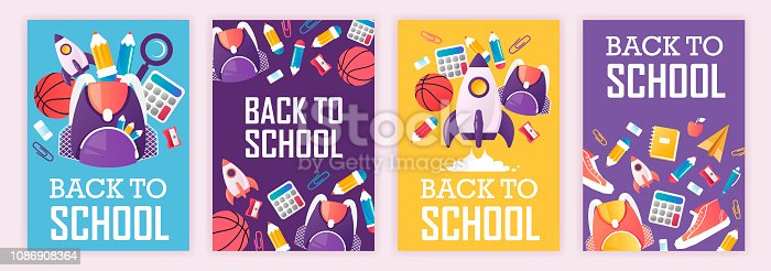 set of banners. back to school. vector cartoon illustration. school supplies