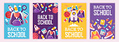 set of banners. back to school. vector cartoon illustration. school supplies