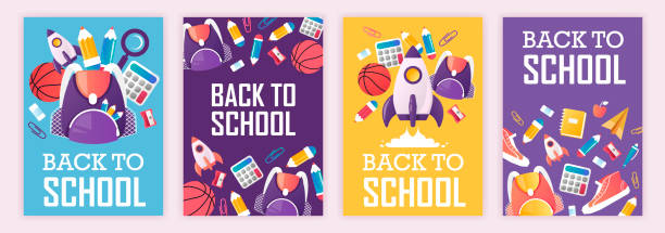 set of banners. back to school. vector cartoon illustration. school supplies set of banners. back to school. vector cartoon illustration. school supplies back to school stock illustrations