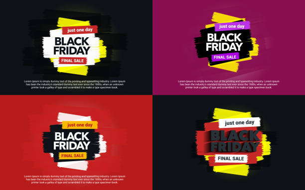 A set of banners Black Friday sale. Abstract ink blots on a background. vector art illustration