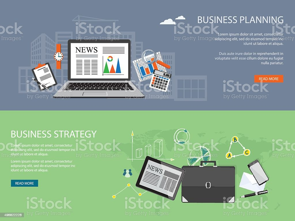 set of banners business planning,  strategy vector art illustration
