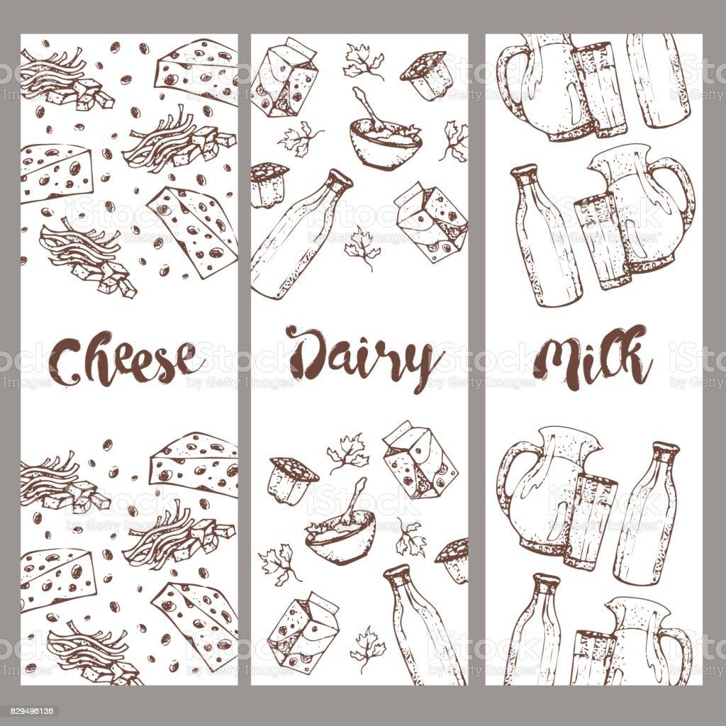 Afiş Süt Ve Süt ürünleri Elle çizilmiş Dizi Gıdalar Skeçler Pişirme