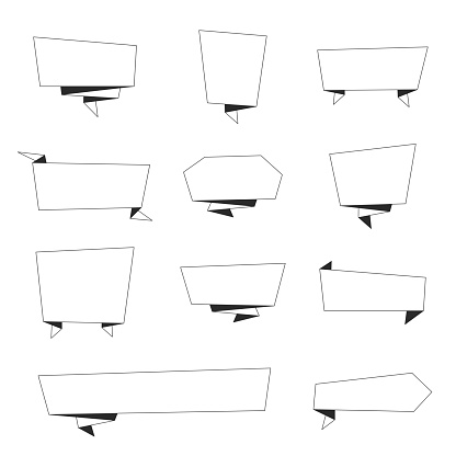 Set of Banners (outline, line art) - Design Elements on white background