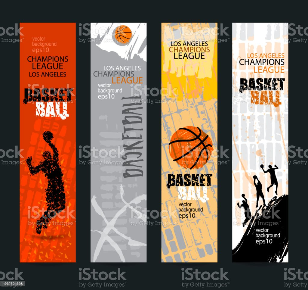 set of banners for basketball sports templates grunge style abstract