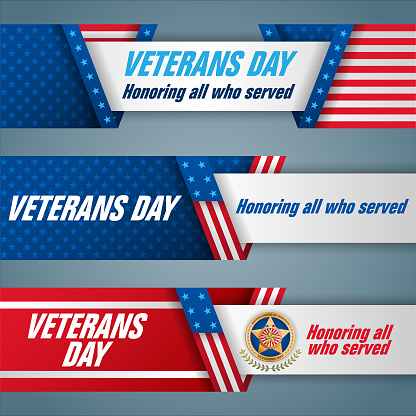 Set of banners for celebration of Veteran's day in U.S.