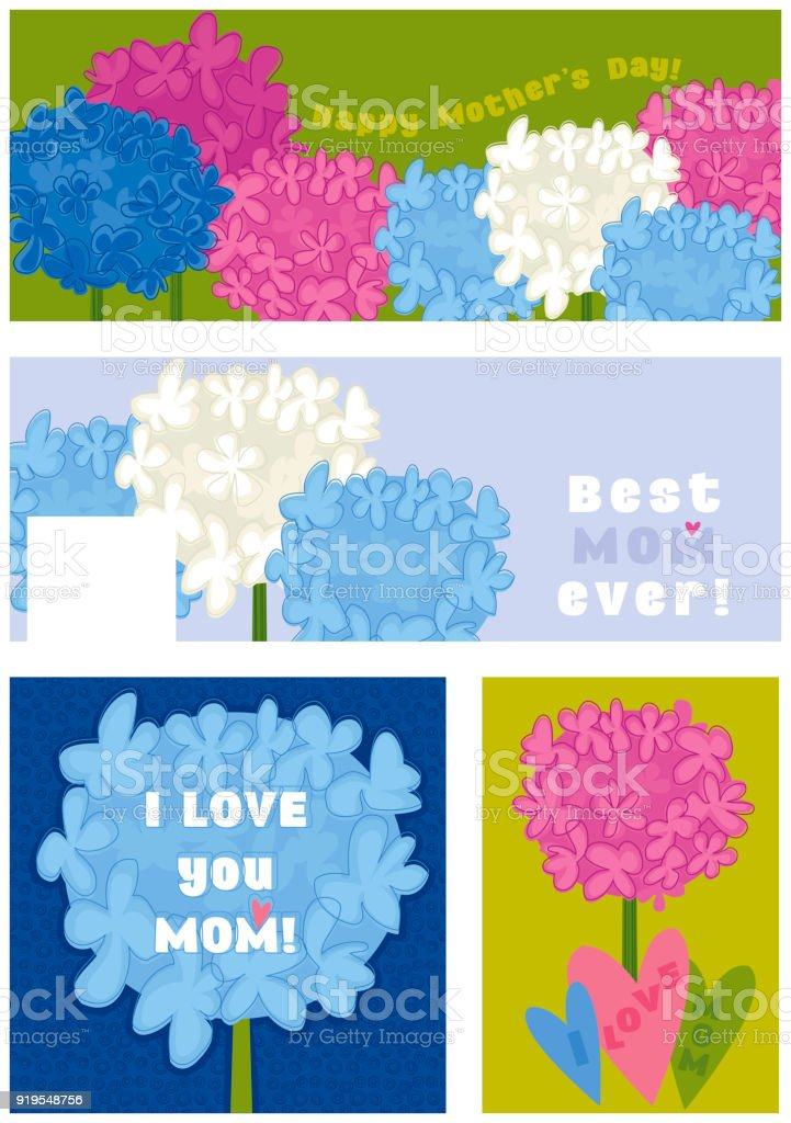 Set of banners for Mother's Day vector art illustration