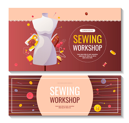 Set of banners for sewing workshop or courses, fashion design, dressmaking, tailoring.