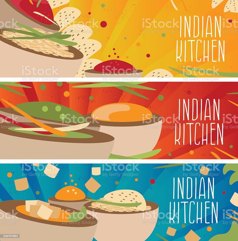 Cuisine Illustration set of banners for theme indian cuisine stock vector art & more