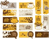 set of banners on the theme of coffee with cup and saucer, coffee grinder, coffee splashes and spots in retro style with inscriptions