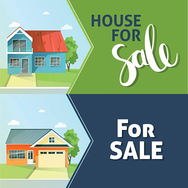 set of banners property sale. family house. flat style modern - neues zuhause stock-grafiken, -clipart, -cartoons und -symbole