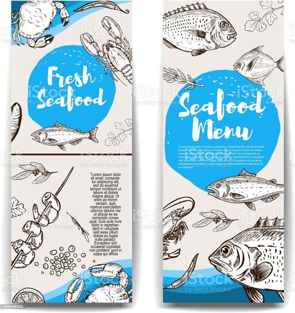 set of banners templates with hand drawn fish and sea animals