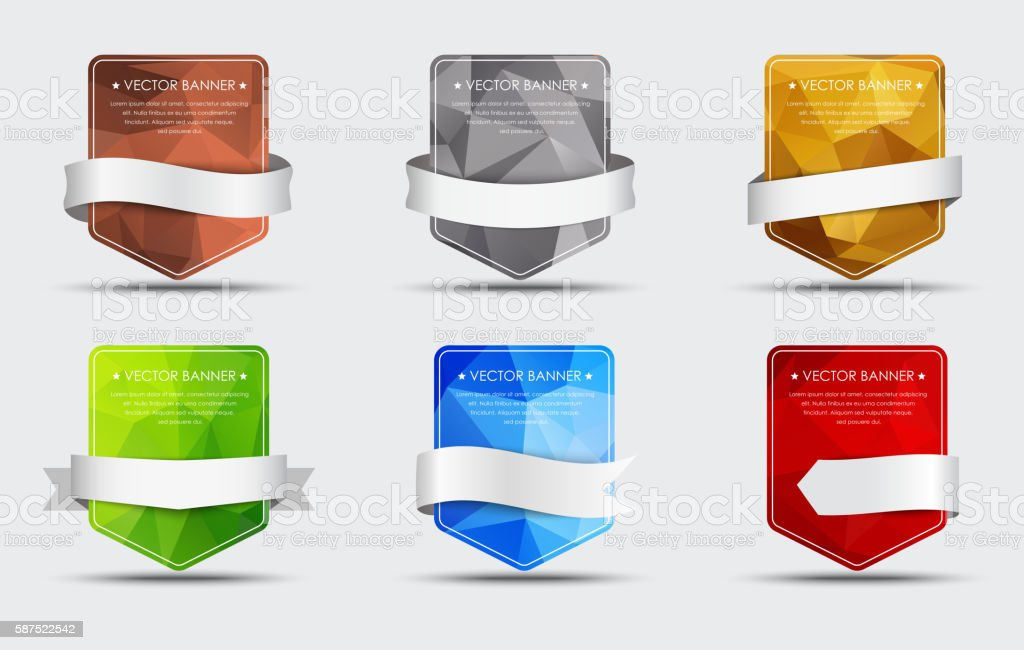 Set of banners with a polygonal background and ribbon vector art illustration