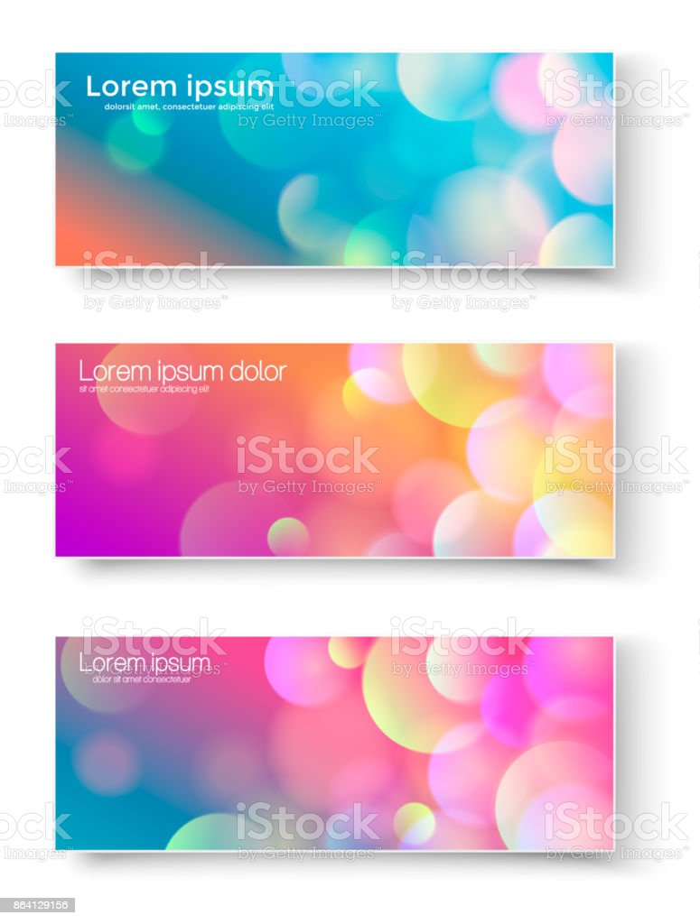 Set of banners with abstract circles. Vector illustration of banners or flyers with abstract different colored light circles. royalty-free set of banners with abstract circles vector illustration of banners or flyers with abstract different colored light circles stock vector art & more images of abstract