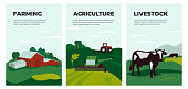 istock Set of banners with agriculture, farming and livestock illustration 1217224238