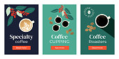 Vector illustrations of Specialty coffee, cupping, roasters. Set of banners with cup of cappuccino, espresso, branches of coffee tree. Template for banner, landing page, website, advertisement, blog.