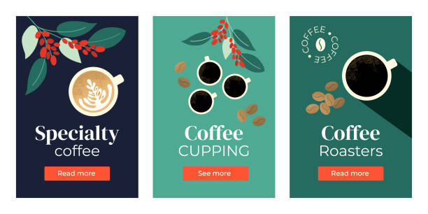 Set of banners with coffee Vector illustrations of Specialty coffee, cupping, roasters. Set of banners with cup of cappuccino, espresso, branches of coffee tree. Template for banner, landing page, website, advertisement, blog. coffee crop stock illustrations