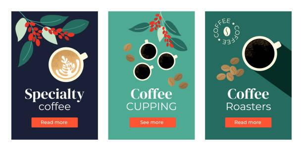 illustrazioni stock, clip art, cartoni animati e icone di tendenza di set of banners with coffee - caffè