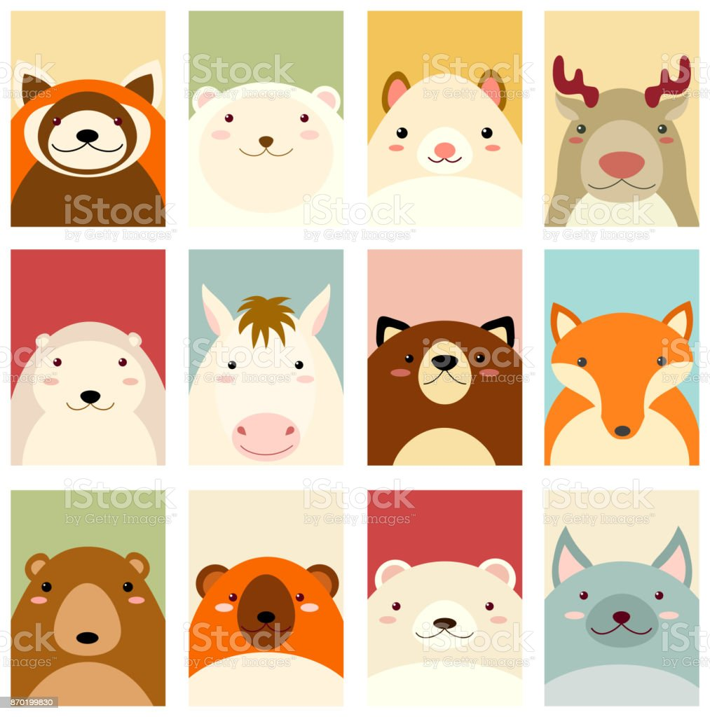 set of banners with cute animals stock vector art more images of
