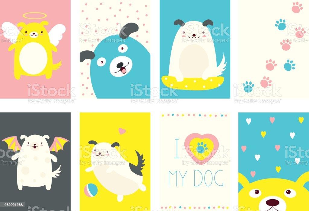 Conjunto de banners con perros lindos ilustración de conjunto de banners con perros lindos y más banco de imágenes de alegre libre de derechos