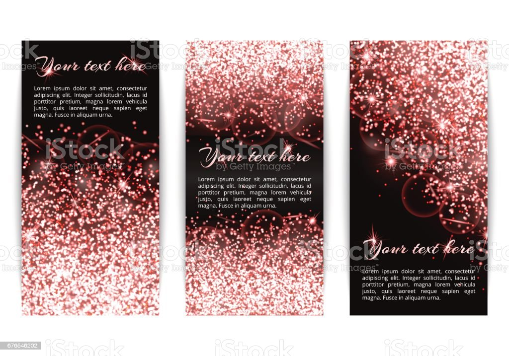 Set of banners with dazzling pink lights vector art illustration