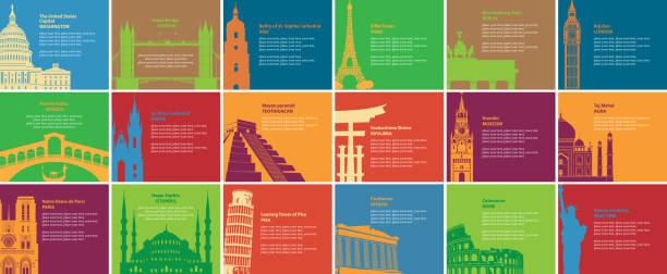 stockillustraties, clipart, cartoons en iconen met set van banners met verschillende historische sites - athens