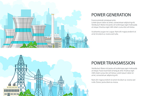 Set of Banners with Electric Power Transmission