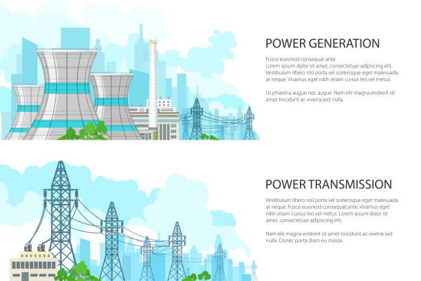 ilustraciones, imágenes clip art, dibujos animados e iconos de stock de conjunto de banners con la transmisión de energía eléctrica - electricity