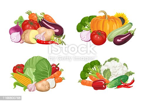 Set of banners with heaps of vegetables on white background.