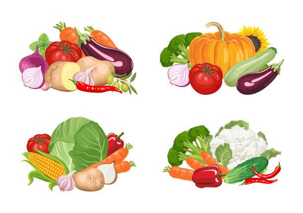 ilustrações de stock, clip art, desenhos animados e ícones de set of banners with heaps of vegetables on white background. - vegetables