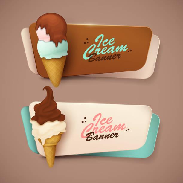 ilustraciones, imágenes clip art, dibujos animados e iconos de stock de conjunto de banners con helado - ice cream cone