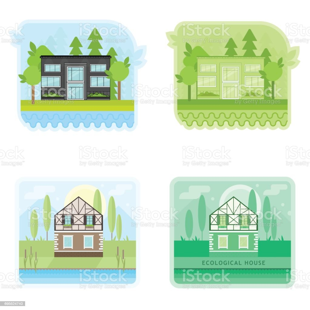 Set Of Banners With Modern Ecological Houses Suburban Family Home Or ...