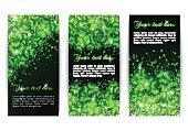 Set of banners with sparkling shamrock