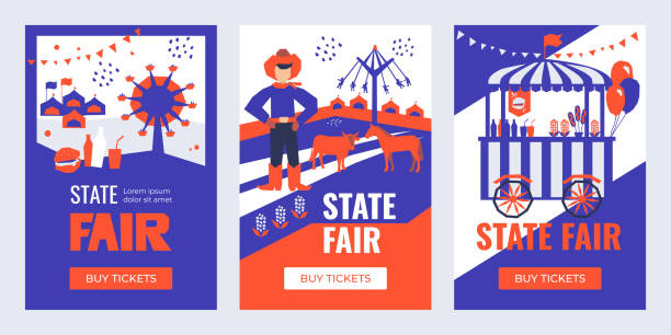 Set of Banners with State Fair Vector illustrations of State Fair. Set of Banners with Buy Tickets button. Food market, car, ferris wheel, farm animals, farmer, country fair. Design template for invitation, advertisement, web site. farmer's market stock illustrations