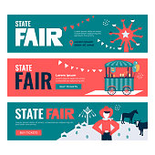 Vector illustrations of State Fair. Set of Banners with Buy Tickets button. Food market, car, ferris wheel, farm animals, farmer, country fair. Design template for invitation, advertisement, web site