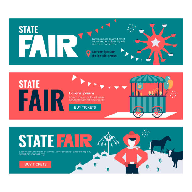 Set of Banners with State Fair Vector illustrations of State Fair. Set of Banners with Buy Tickets button. Food market, car, ferris wheel, farm animals, farmer, country fair. Design template for invitation, advertisement, web site agricultural fair stock illustrations
